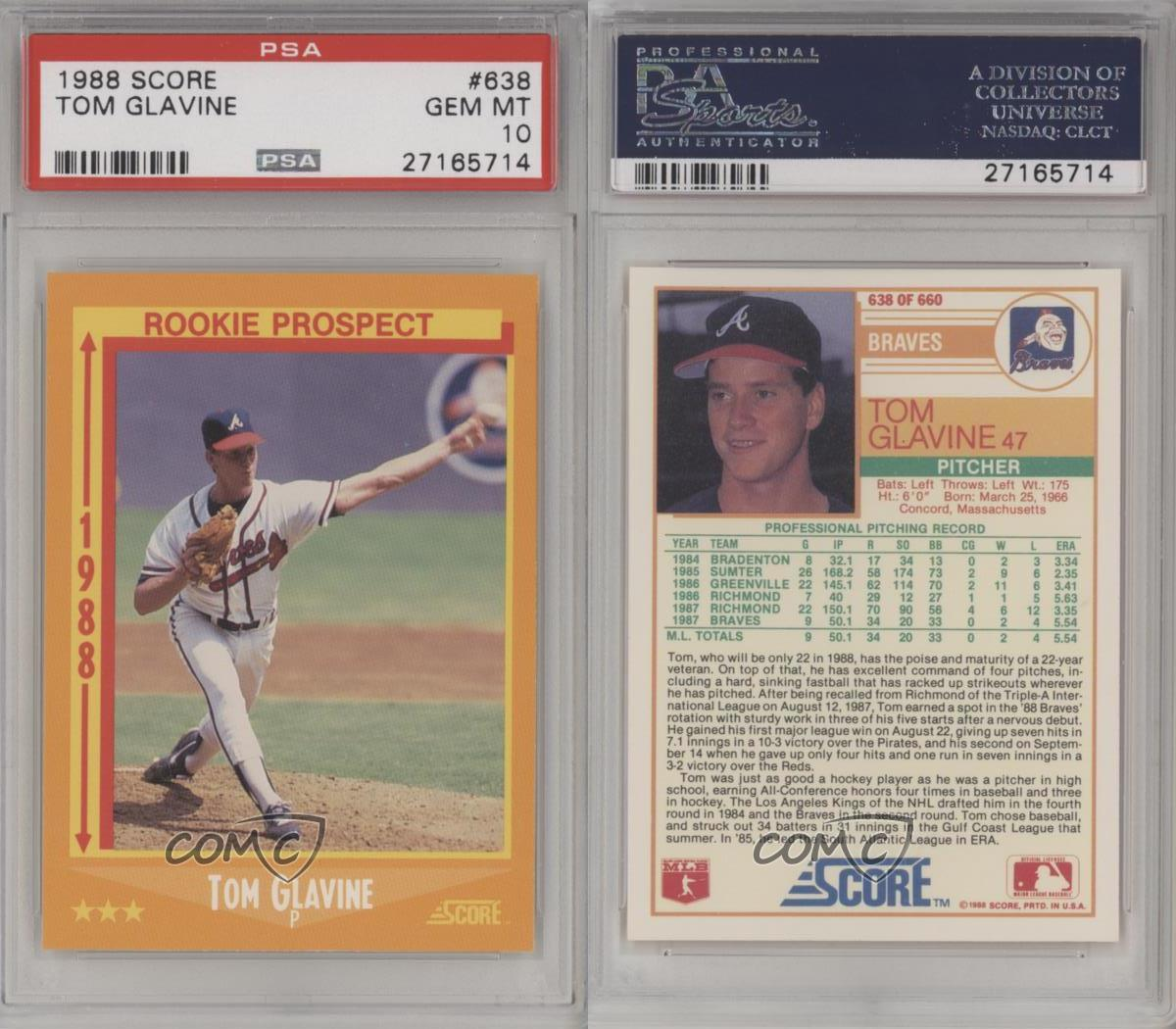 John Smoltz 1989 Donruss Rookie Card 642 Atlanta Braves: 1988 Score #638 Tom Glavine PSA 10 Atlanta Braves RC