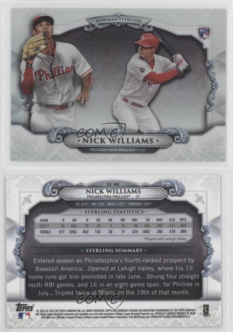 Verzamelkaarten: sport 2018 Bowman Sterling Continuity #BS-NW Nick Williams Philadelphia Phillies Card Honkbal