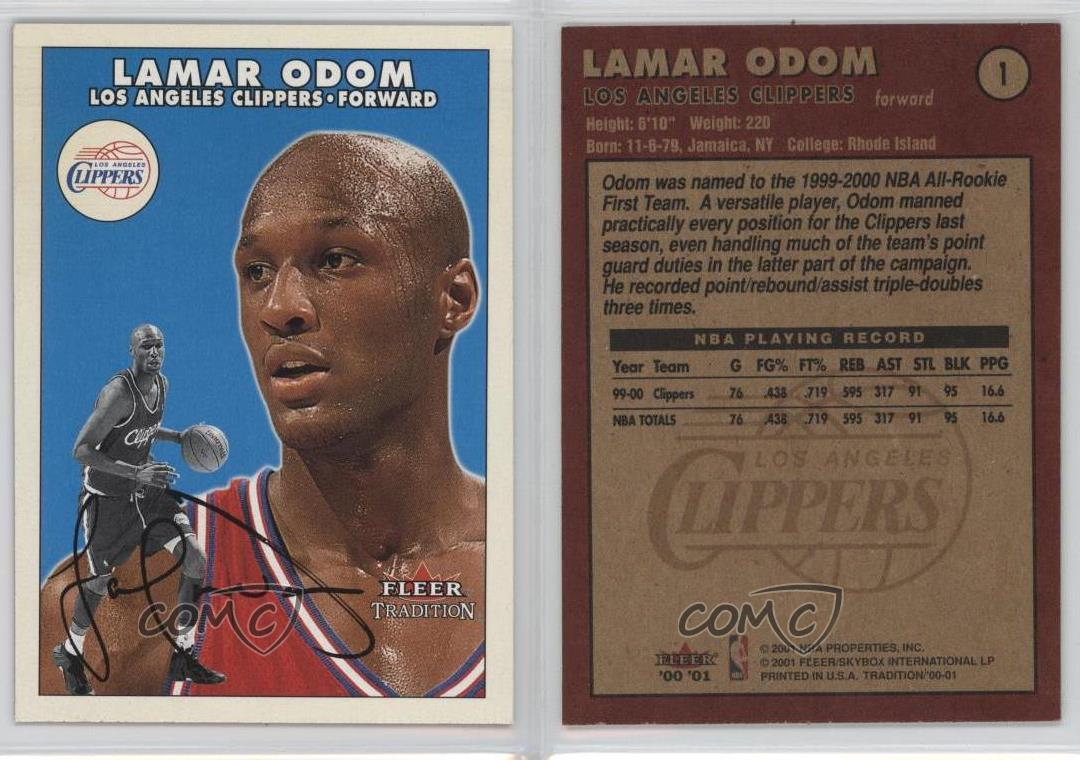 2000-01-Fleer-Tradition-1-Lamar-Odom-Los-Angeles-Clippers-Basketball-Card