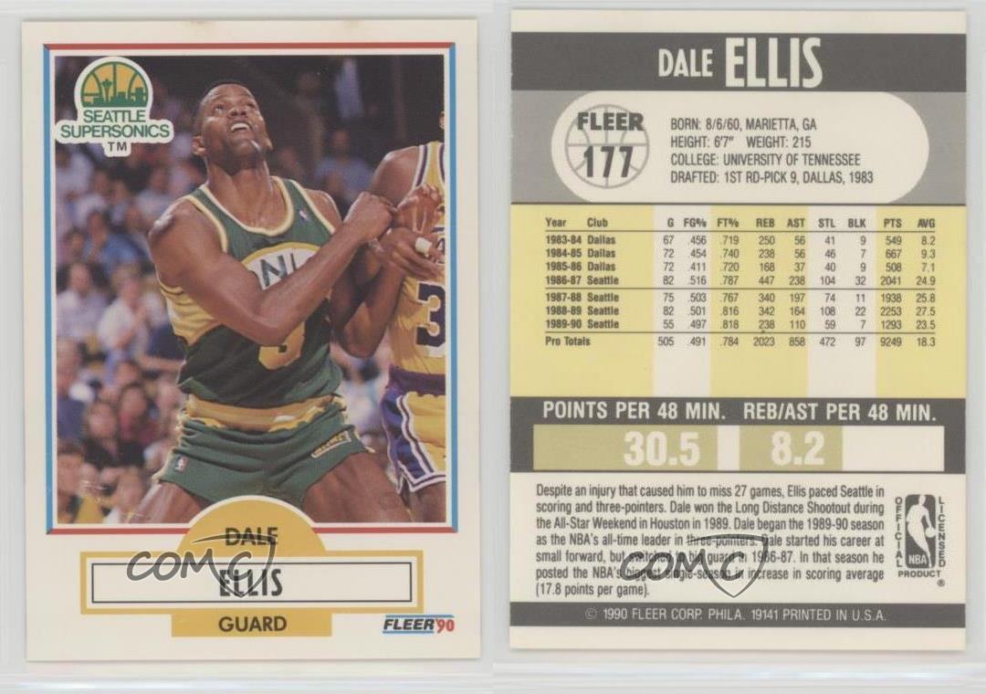 1990 91 Fleer 177 Dale Ellis Seattle Supersonics Basketball Card