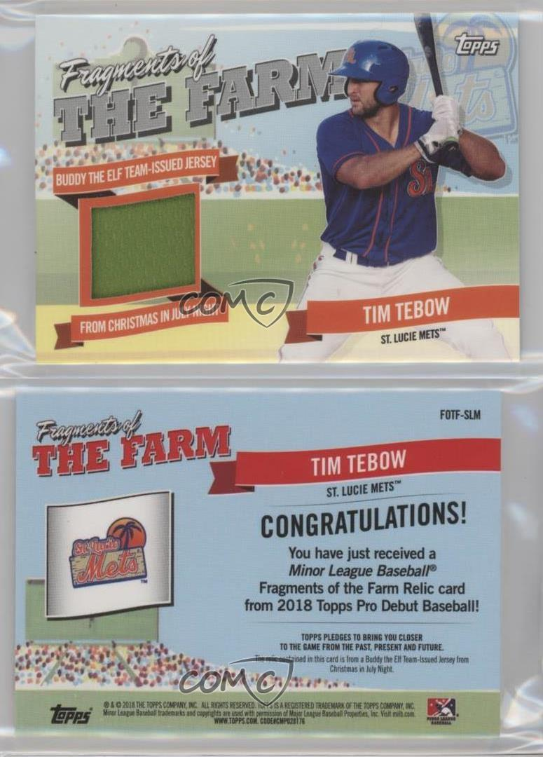 Details About 2018 Topps Pro Debut Fragments Of The Farm Relics Fotf Slm Tim Tebow Rookie Card