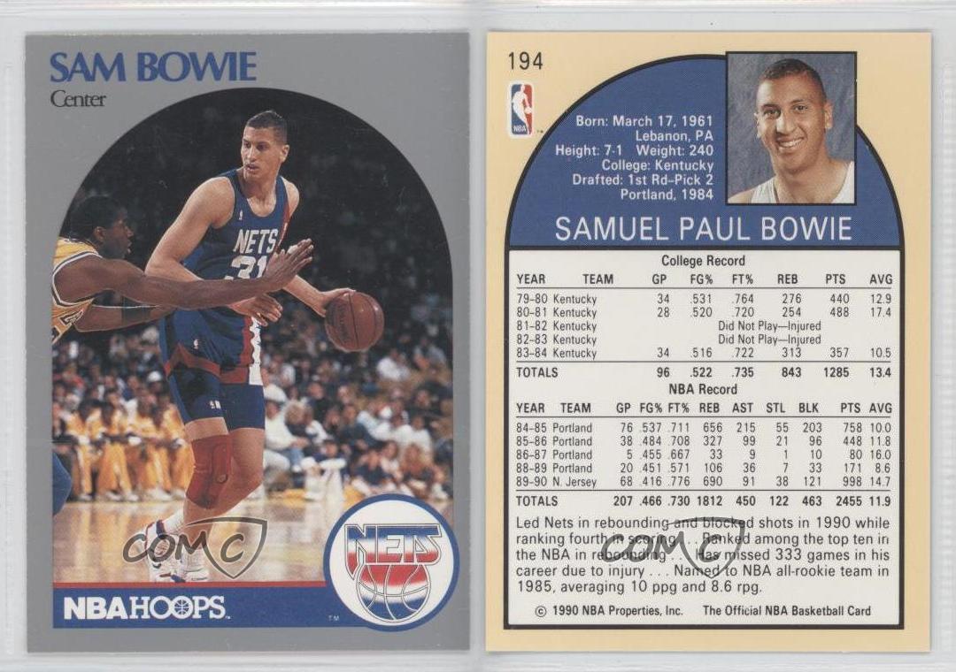 1990 91 NBA Hoops 194 Sam Bowie New Jersey Nets Basketball Card