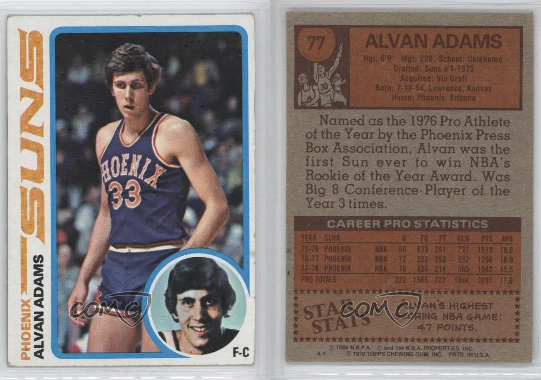 1978 79 Topps 77 Alvan Adams Phoenix Suns Basketball Card