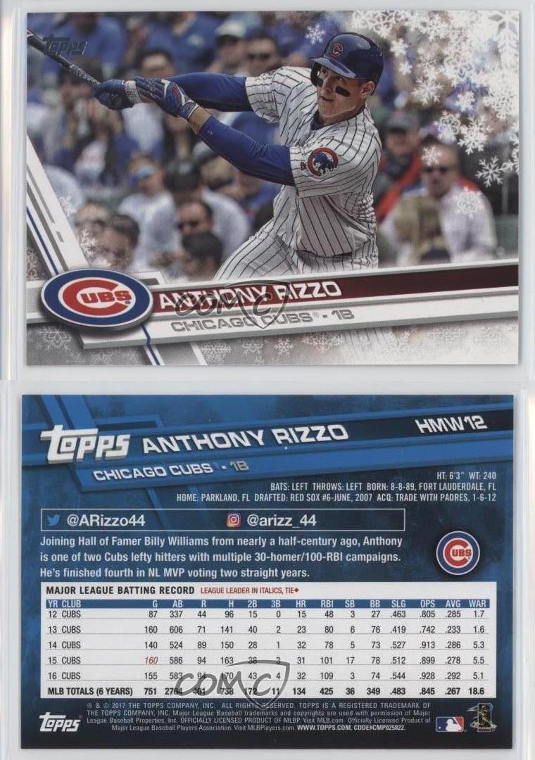 2017-Topps-Holiday-Wal-Mart-Exclusive-Base-HMW12-Anthony-Rizzo-Chicago-Cubs-Card