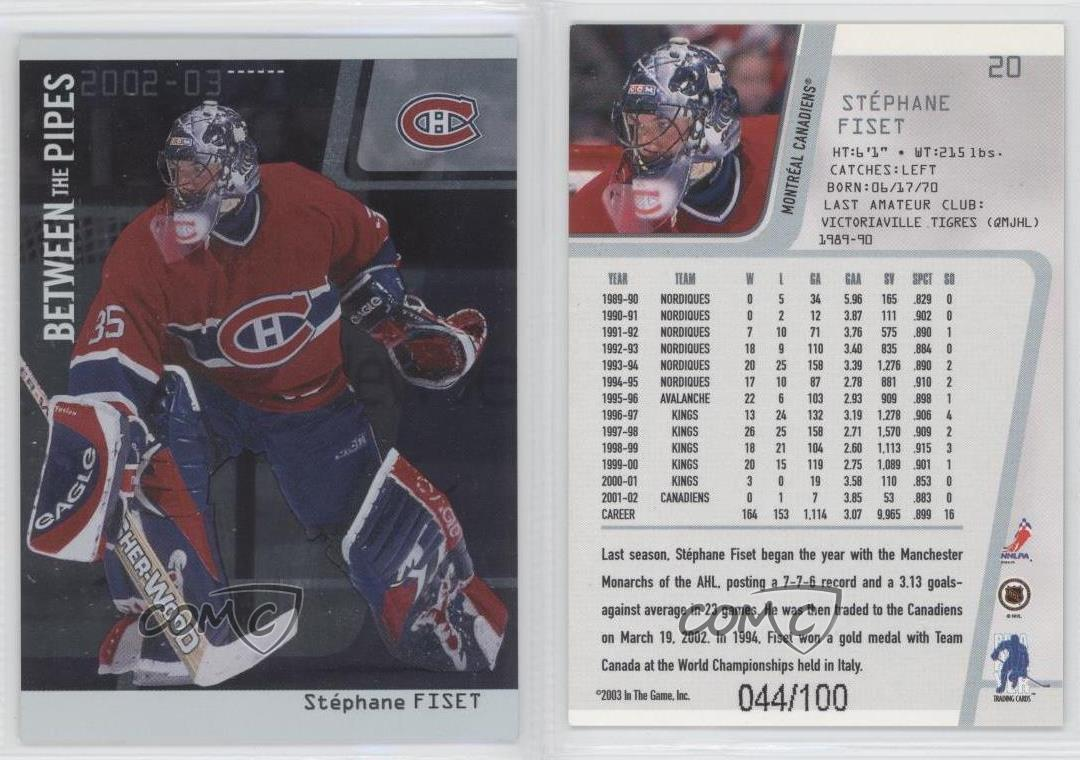 2002 03 Itg Be A Player Between The Pipes Silver 100 Stephane Fiset 20 Ebay