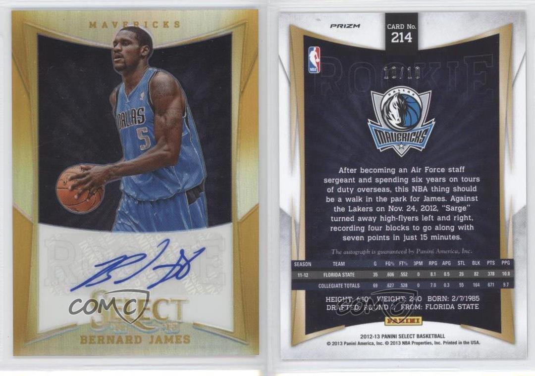 2012-13-Panini-Select-Gold-Prizms-214-Bernard-James-Dallas-Mavericks-Auto-Card