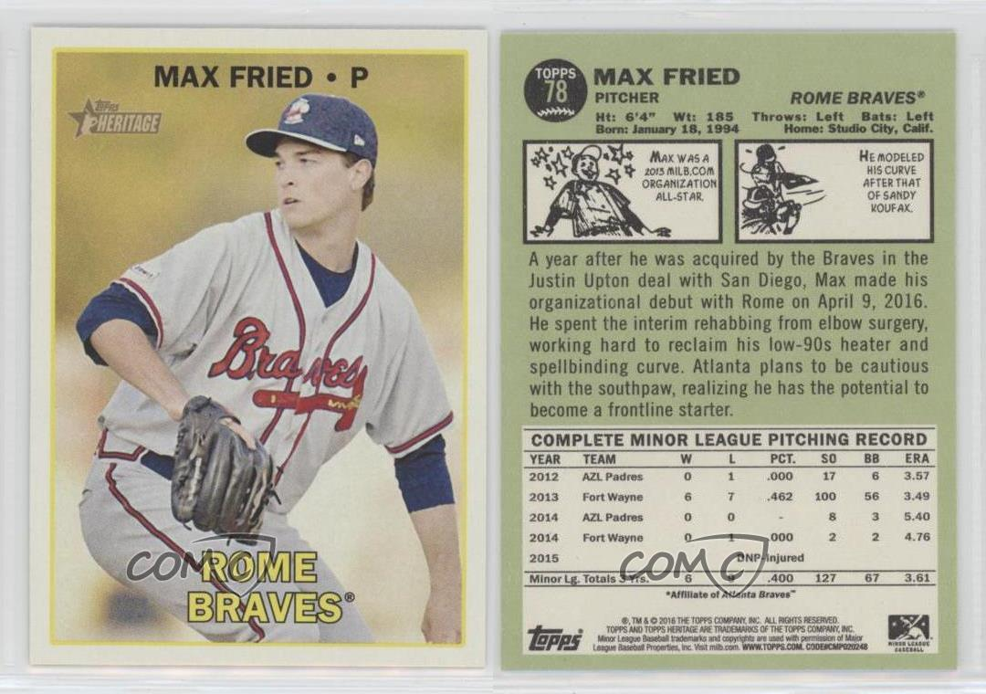 2016-Topps-Heritage-Minor-League-Edition-78-Max-Fried-Rome-Braves-Baseball-Card