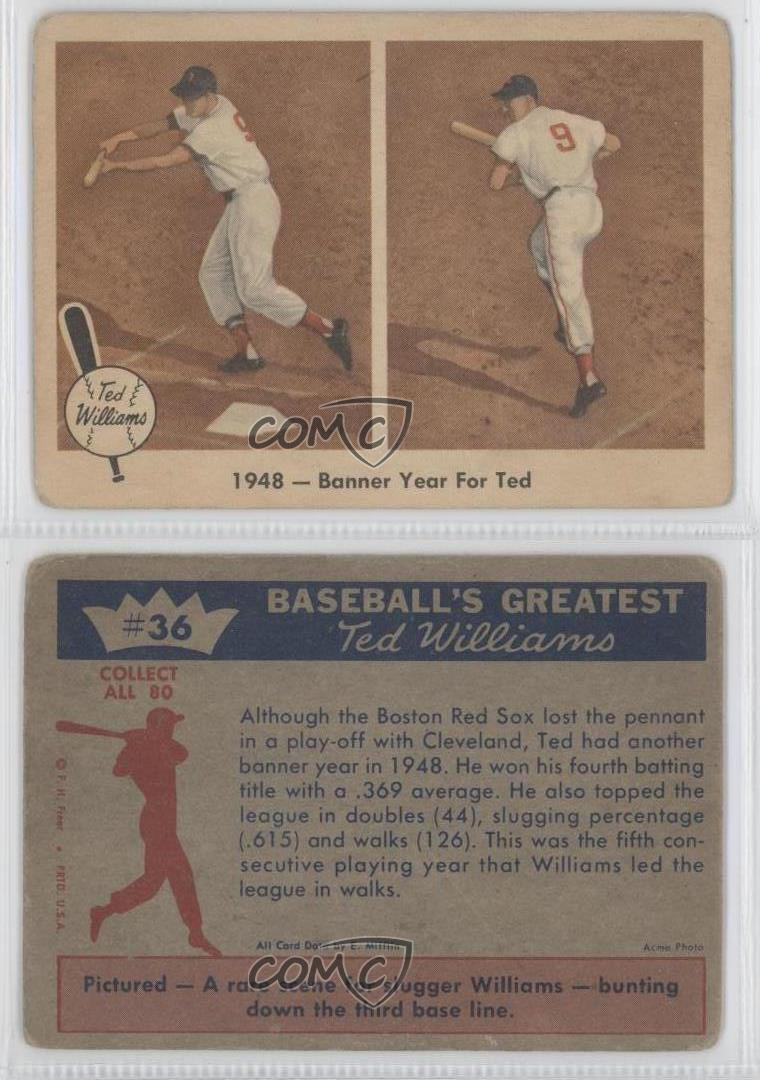 1959 Fleer Williams 36 1948 Banner Year For Ted Boston Red Sox