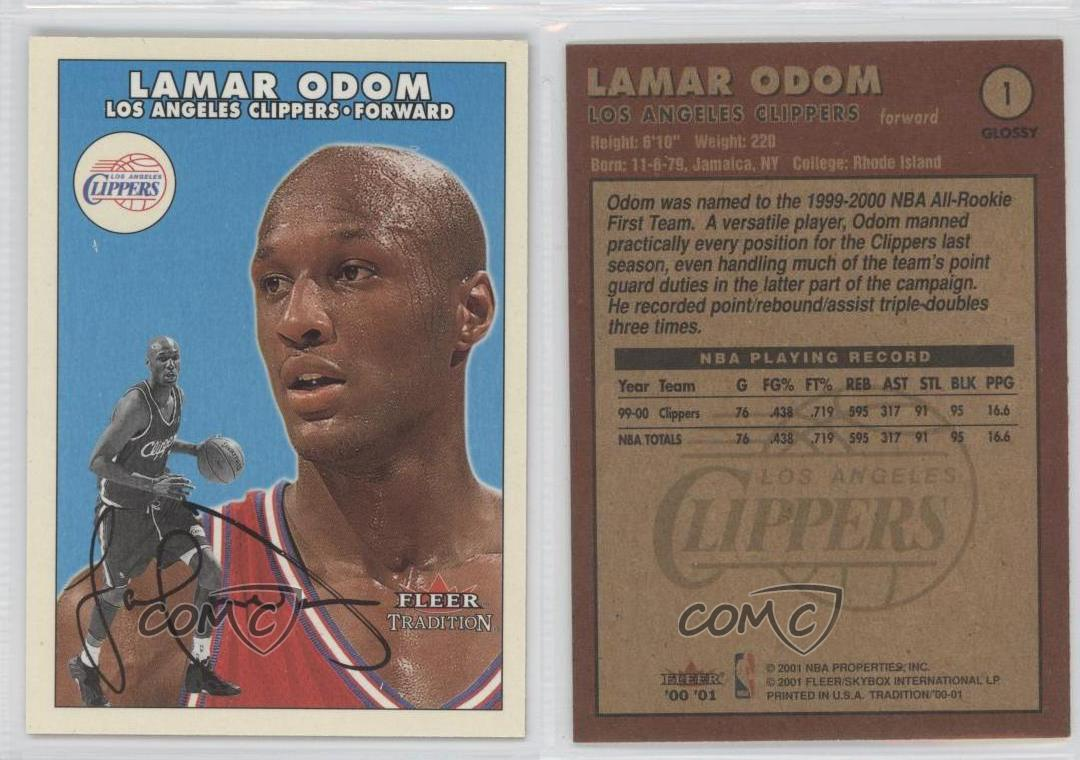 2000-01-Fleer-Tradition-Glossy-1-Lamar-Odom-Los-Angeles-Clippers-Basketball-Card