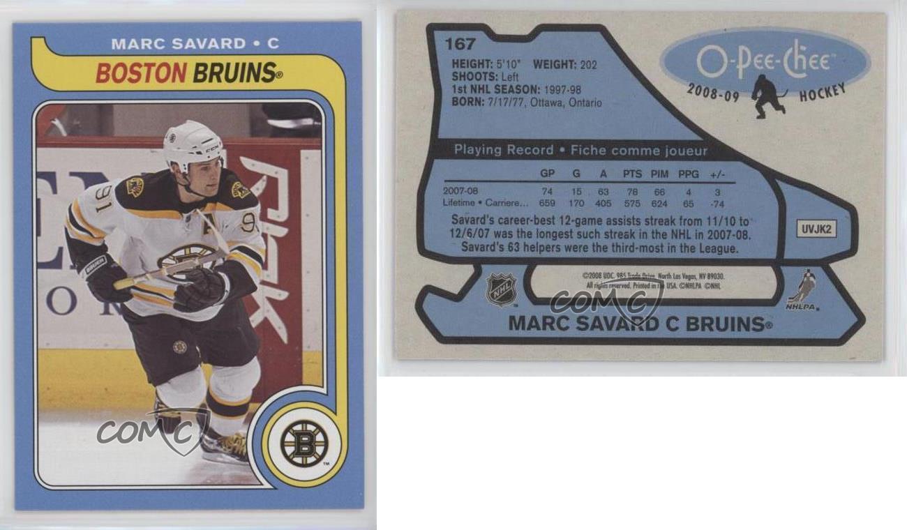 2008-09-O-Pee-Chee-Retro-167-Marc-Savard-Boston-Bruins-Hockey-Card
