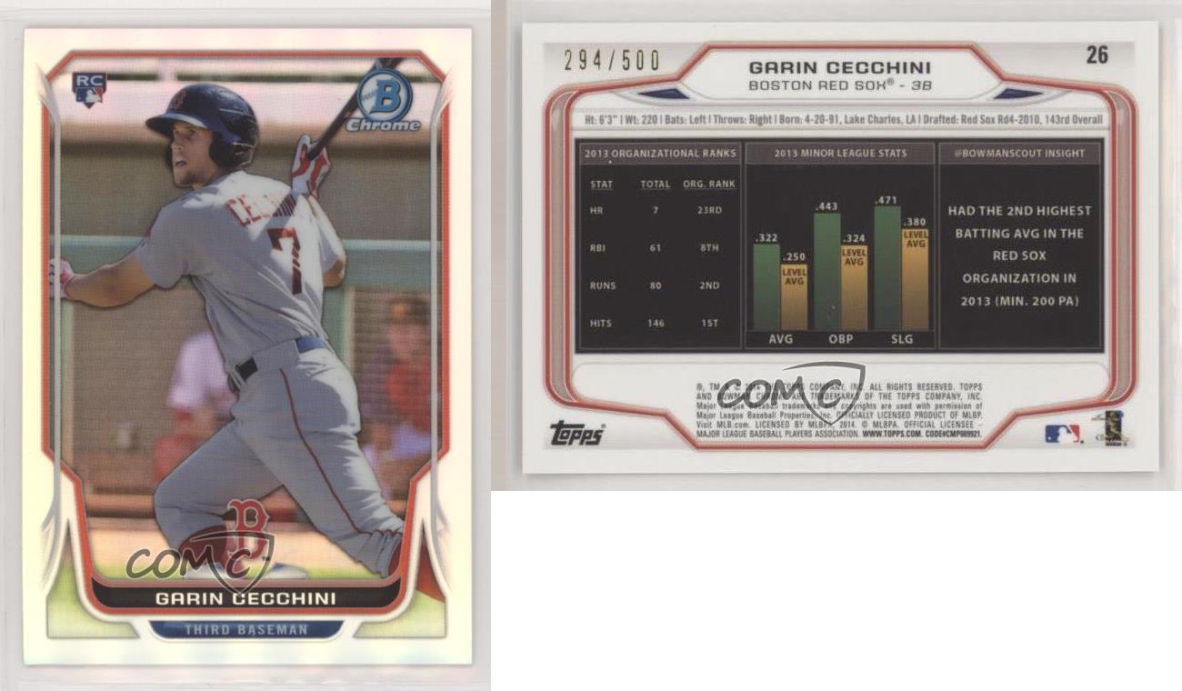 2011 Bowman Chrome Prospects Blue Refractor//250 #BCP107 Garin Cecchini Rookie