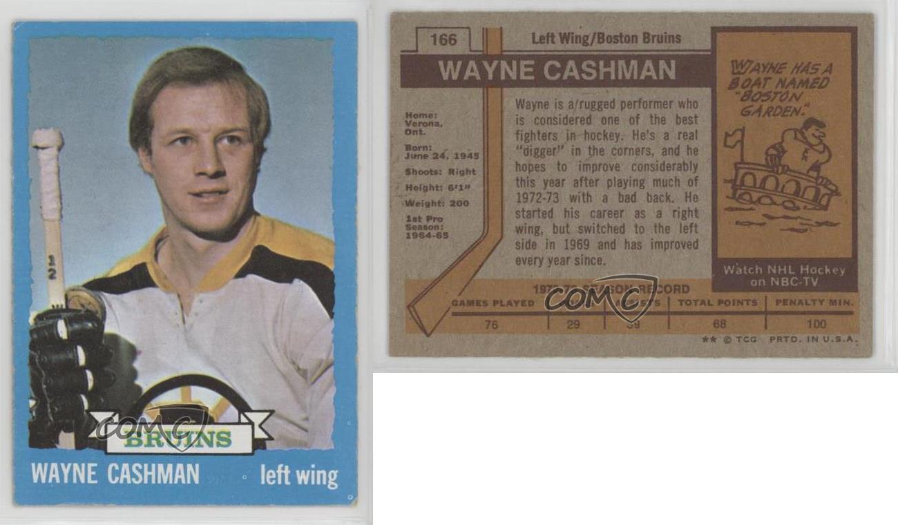 1973-74-Topps-166-Wayne-Cashman-Boston-Bruins-Hockey-Card