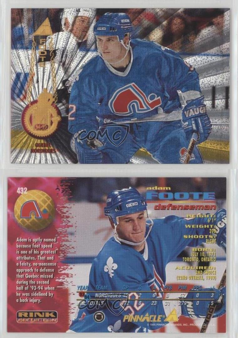 5258e0ad8 1994-95 Pinnacle Rink Collection  432 Adam Foote Quebec Nordiques ...