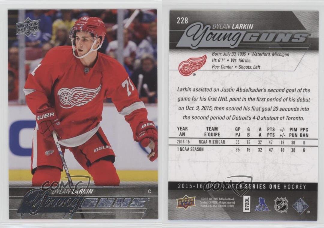 2015-16-Upper-Deck-228-Young-Guns-Dylan-Larkin-Detroit-Red-Wings-RC-Hockey-Card