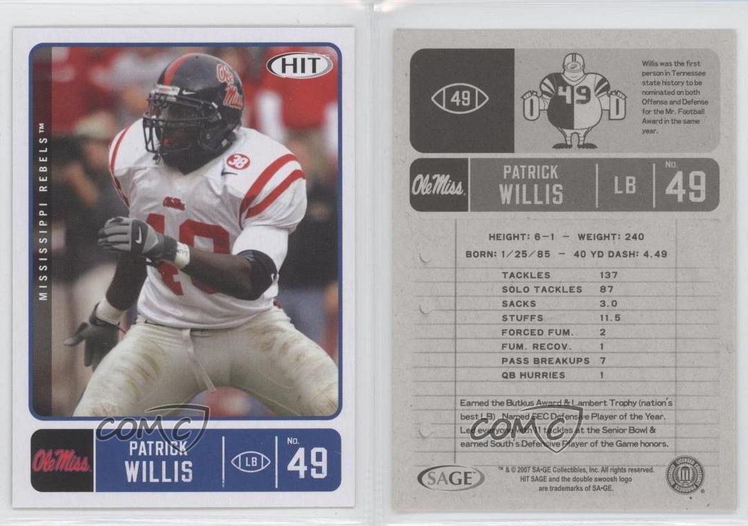 2007 Sage HIT Football Rookie Card #49 Patrick Willis