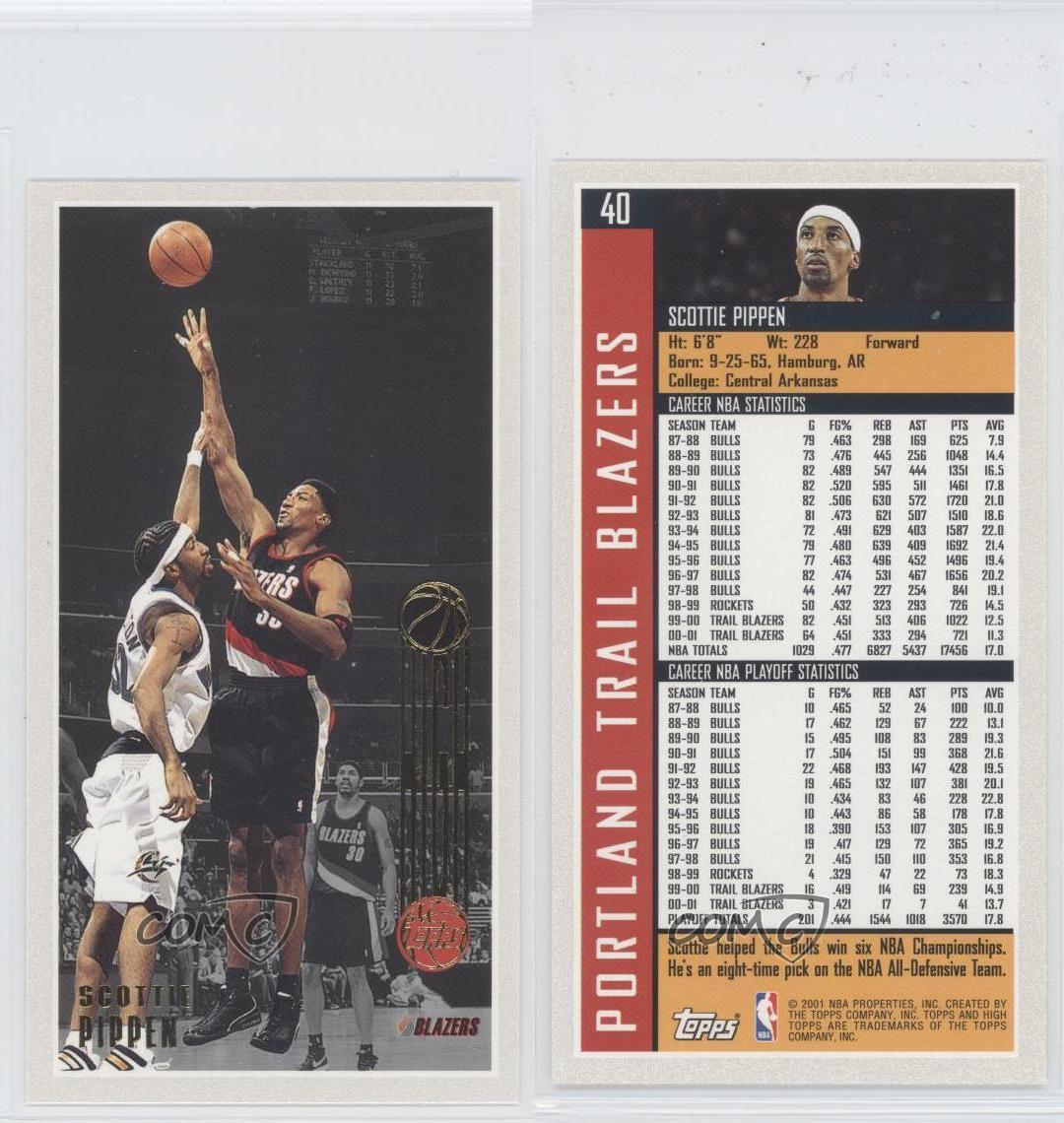 Portland Blazers Worth: 2001-02 Topps High #40 Scottie Pippen Portland Trail