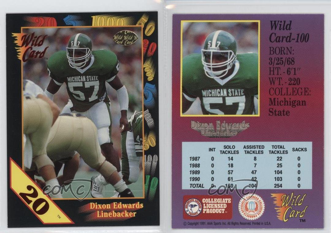 1991-Wild-Card-Draft-20-Stripe-100-Dixon-Edwards-Michigan-State-Spartans-Rookie