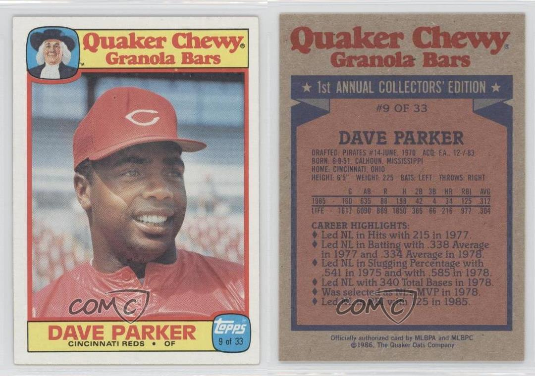 1986 Topps Quaker Chewy Granola Bars Food Issue Base 9