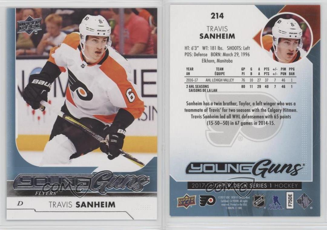 2017-Upper-Deck-214-Young-Guns-Travis-Sanheim-Philadelphia-Flyers-RC-Hockey-Card