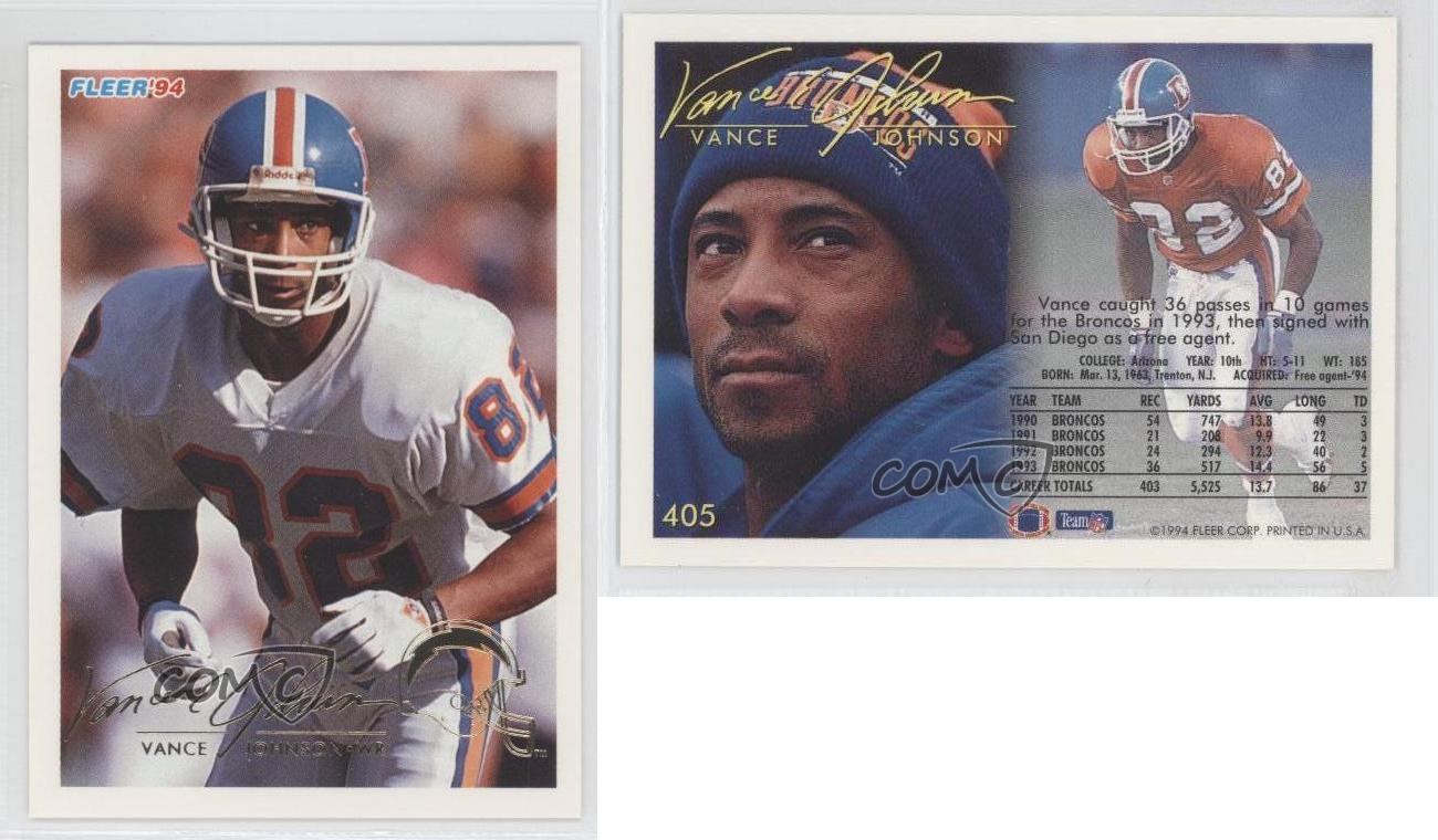 1994 Fleer 405 Vance Johnson Denver Broncos San Diego