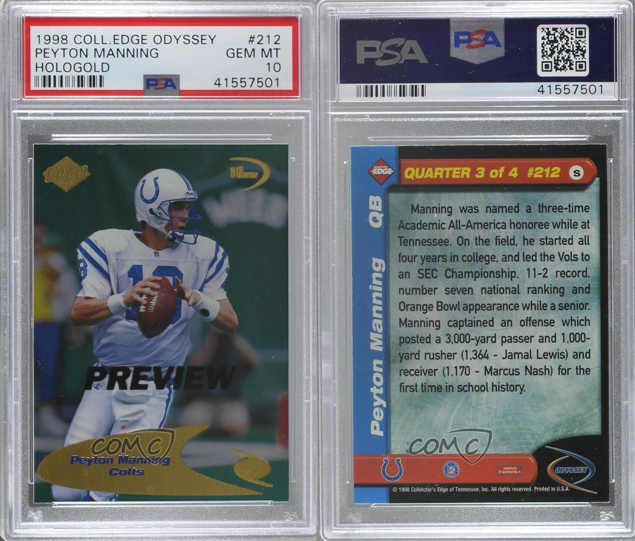 1998 Collector's Edge Odyssey Preview #212 Peyton Manning