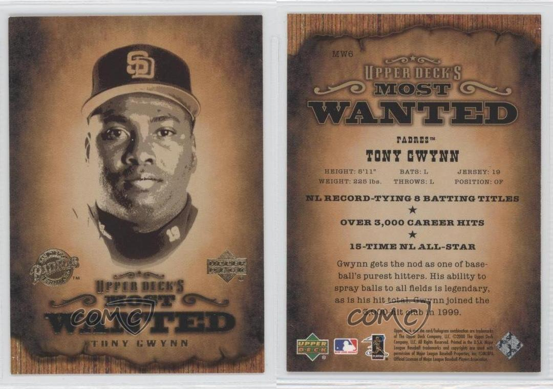 Details About 2001 Upper Deck Most Wanted Mw6 Tony Gwynn San Diego Padres Baseball Card