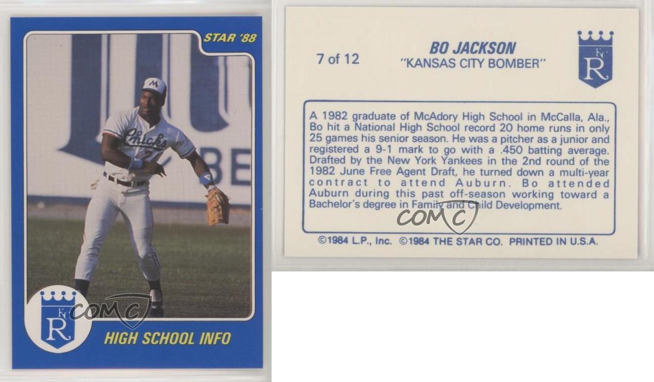 Royals Card Baseball//Football 1988 Star Kansas City Bomber #10 Bo Jackson