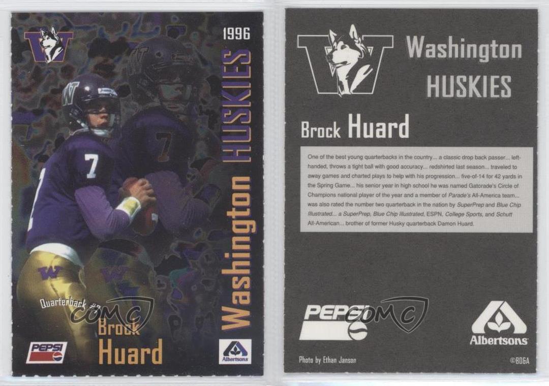 1996-Pepsi-Albertsons-Washington-Huskies-BRHU-Brock-Huard-Rookie-Football-Card