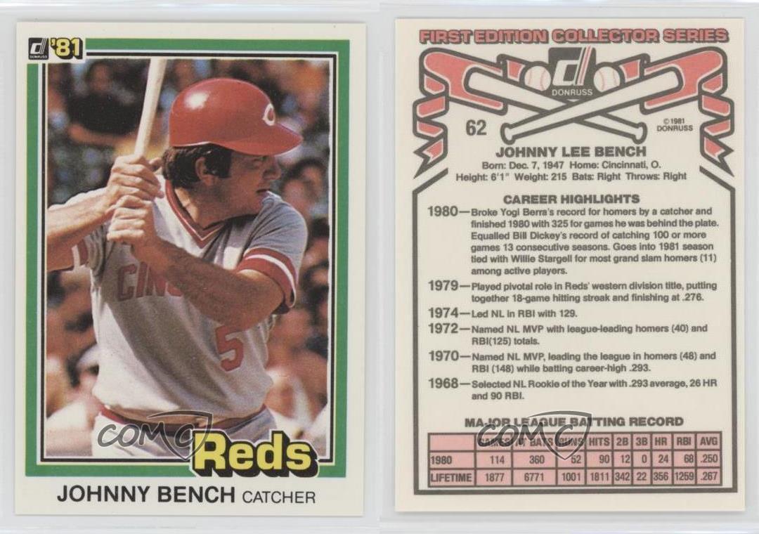 1981 Donruss 62 Johnny Bench Cincinnati Reds Baseball Card Ebay