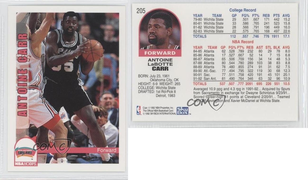 1992 93 NBA Hoops 205 Antoine Carr San Antonio Spurs Basketball