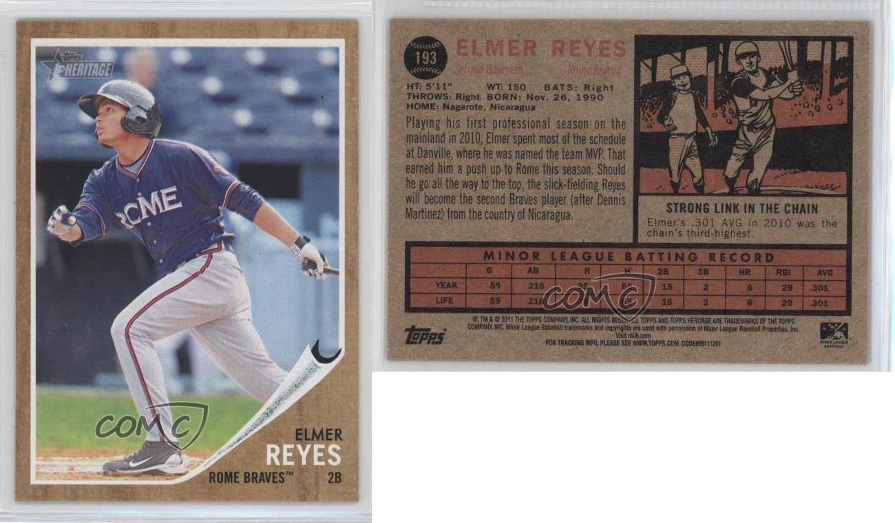 2011-Topps-Heritage-Minor-League-Edition-193-Elmer-Reyes-Rome-Braves-Rookie-Card