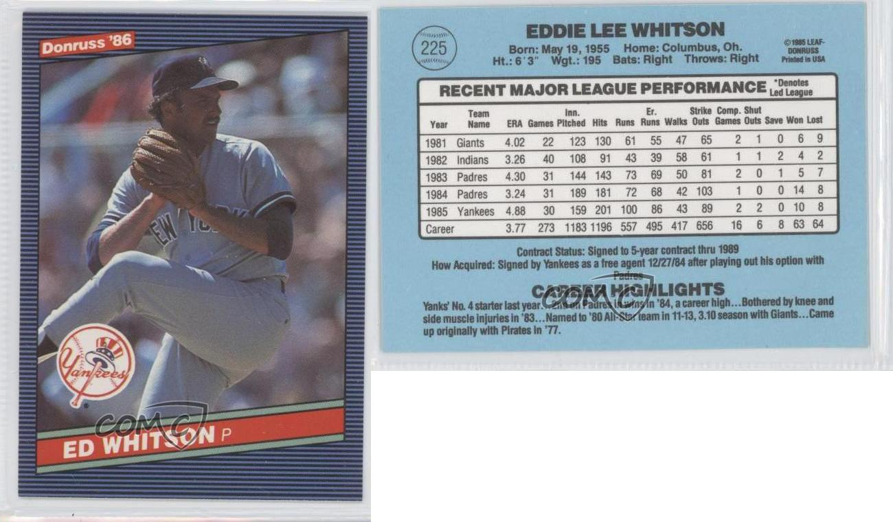 1986 Donruss 225 Ed Whitson New York Yankees Baseball