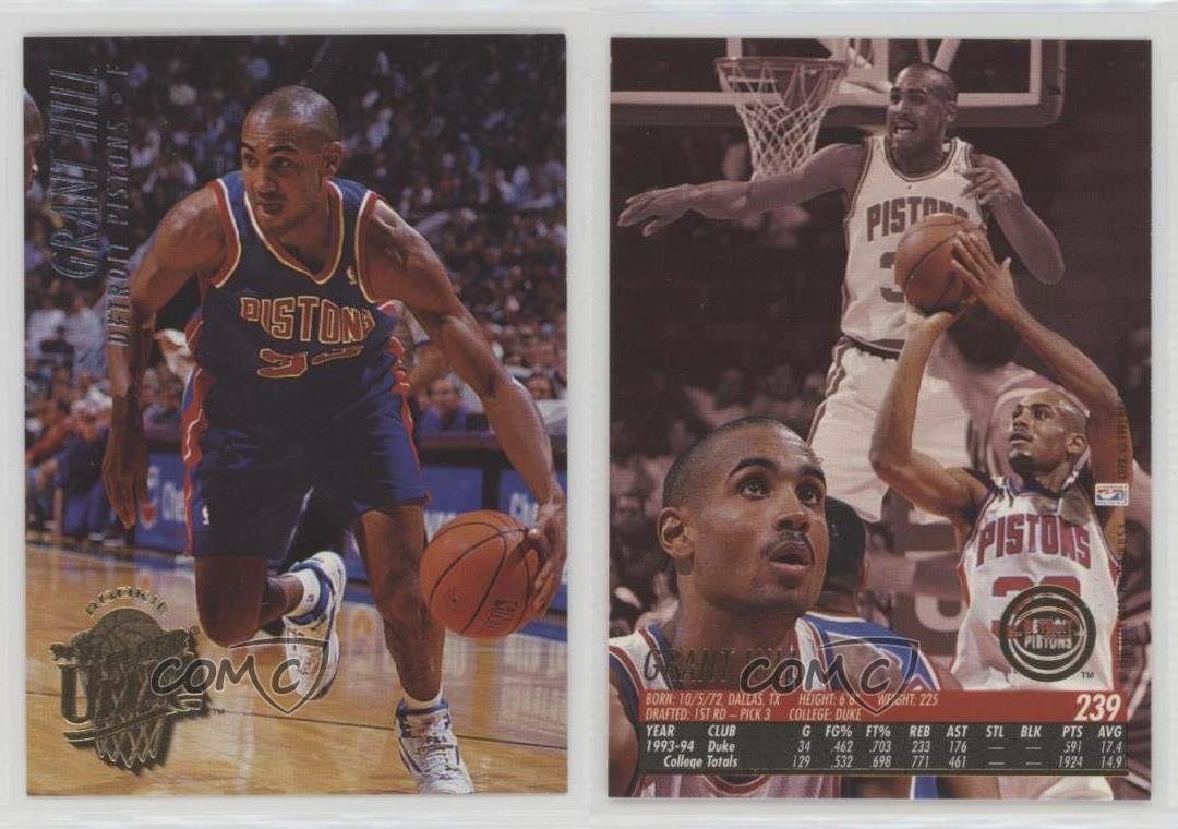 1994-95-Fleer-Ultra-239-Grant-Hill-Detroit-Pistons-RC-Rookie-Basketball-Card