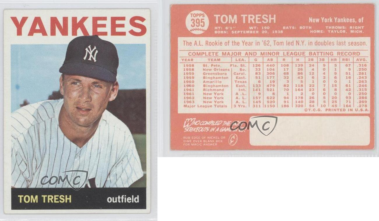 1964 Topps 395 Tom Tresh New York Yankees Baseball Card
