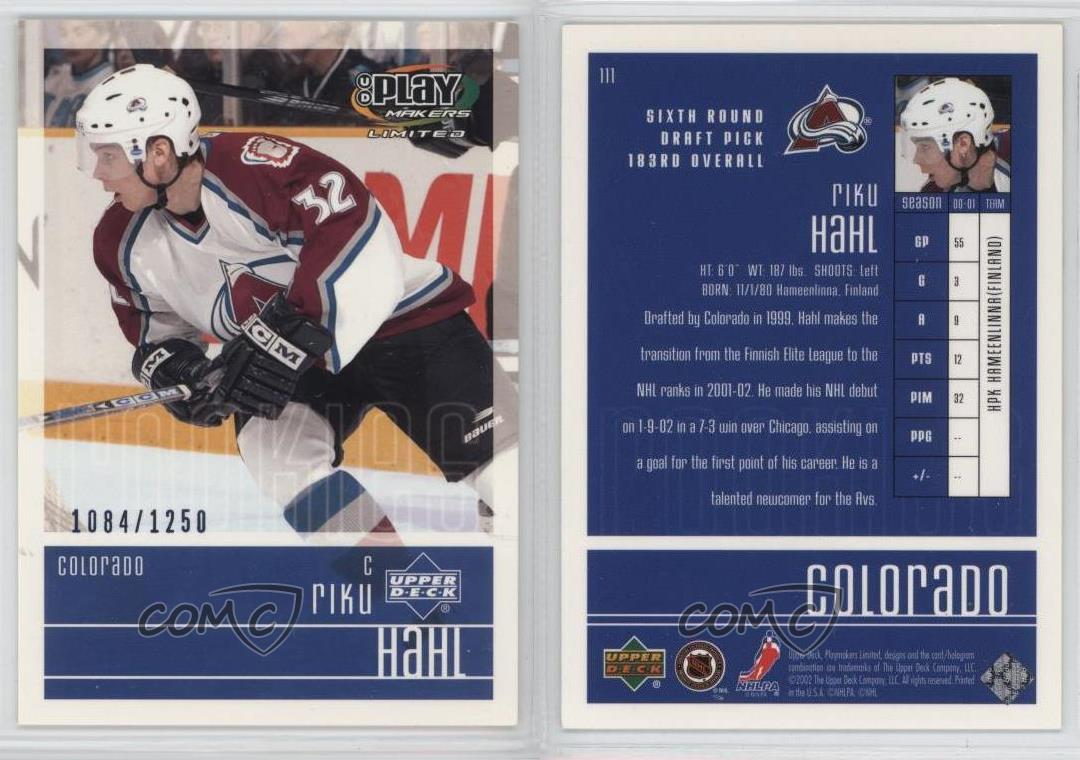 2001-02-Upper-Deck-Play-Makers-Limited-111-Riku-Hahl-Colorado-Avalanche-RC-Card