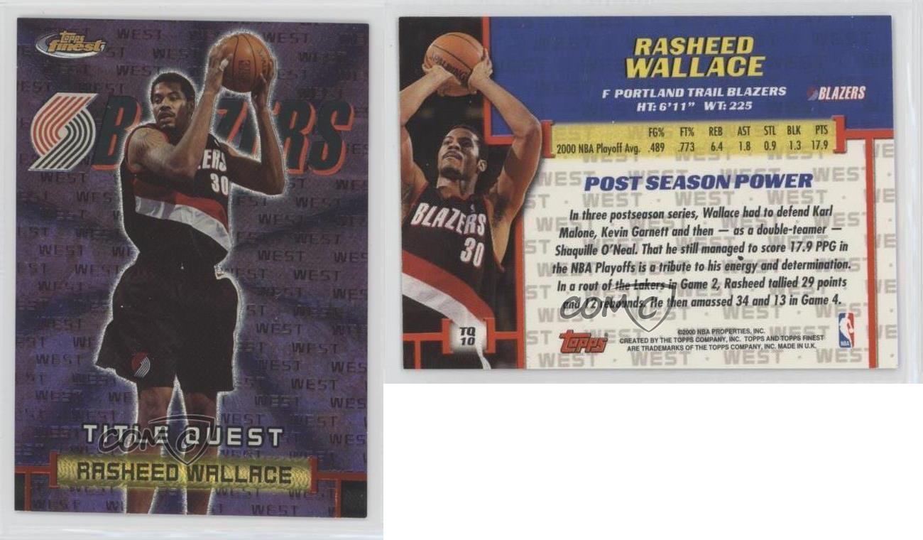 2000 Topps Finest Title Quest #TQ10 Rasheed Wallace Portland Trail Blazers Card