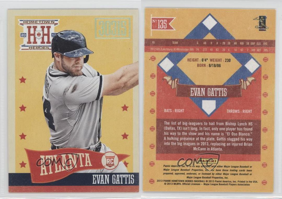 Panini Hometown Heroes Zip Code  Evan Gattis Atlanta - Us zip codes in numerical order