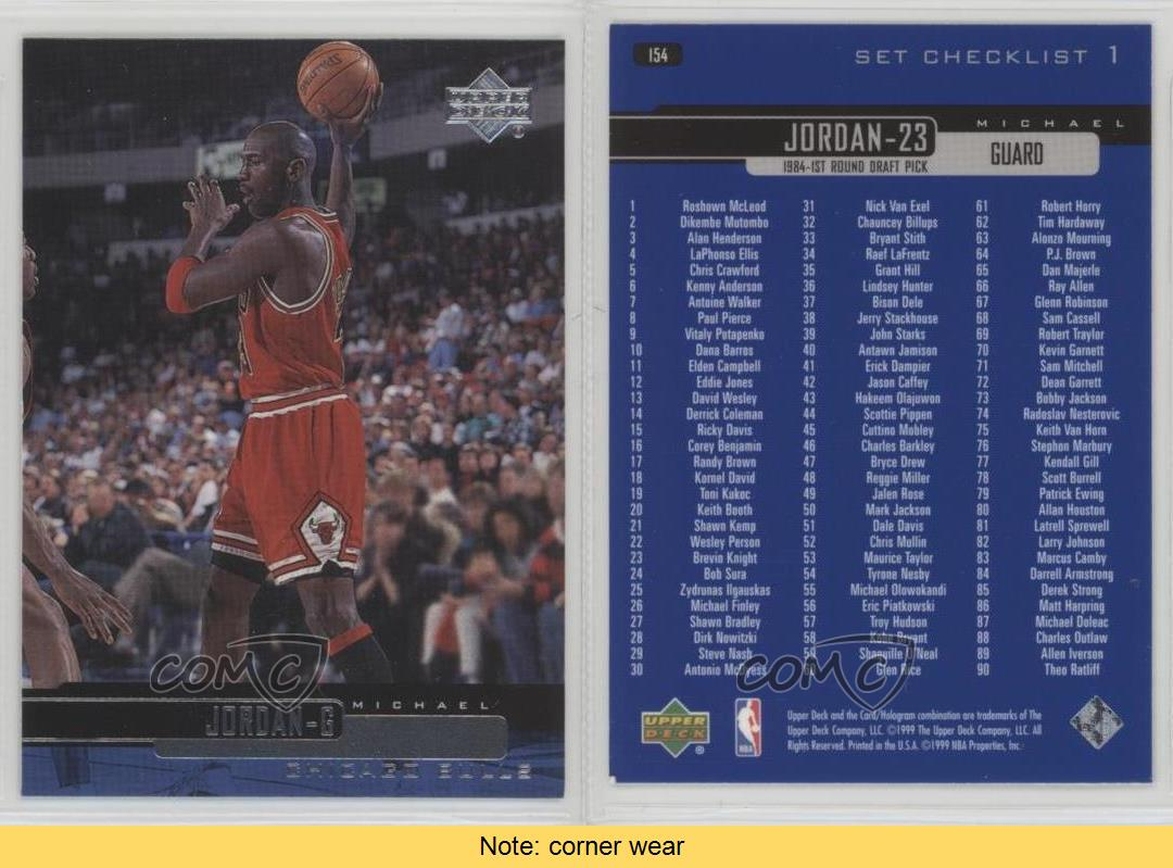 1999-00-Upper-Deck-154-Michael-Jordan-Checklist-Chicago-Bulls-Basketball-Card