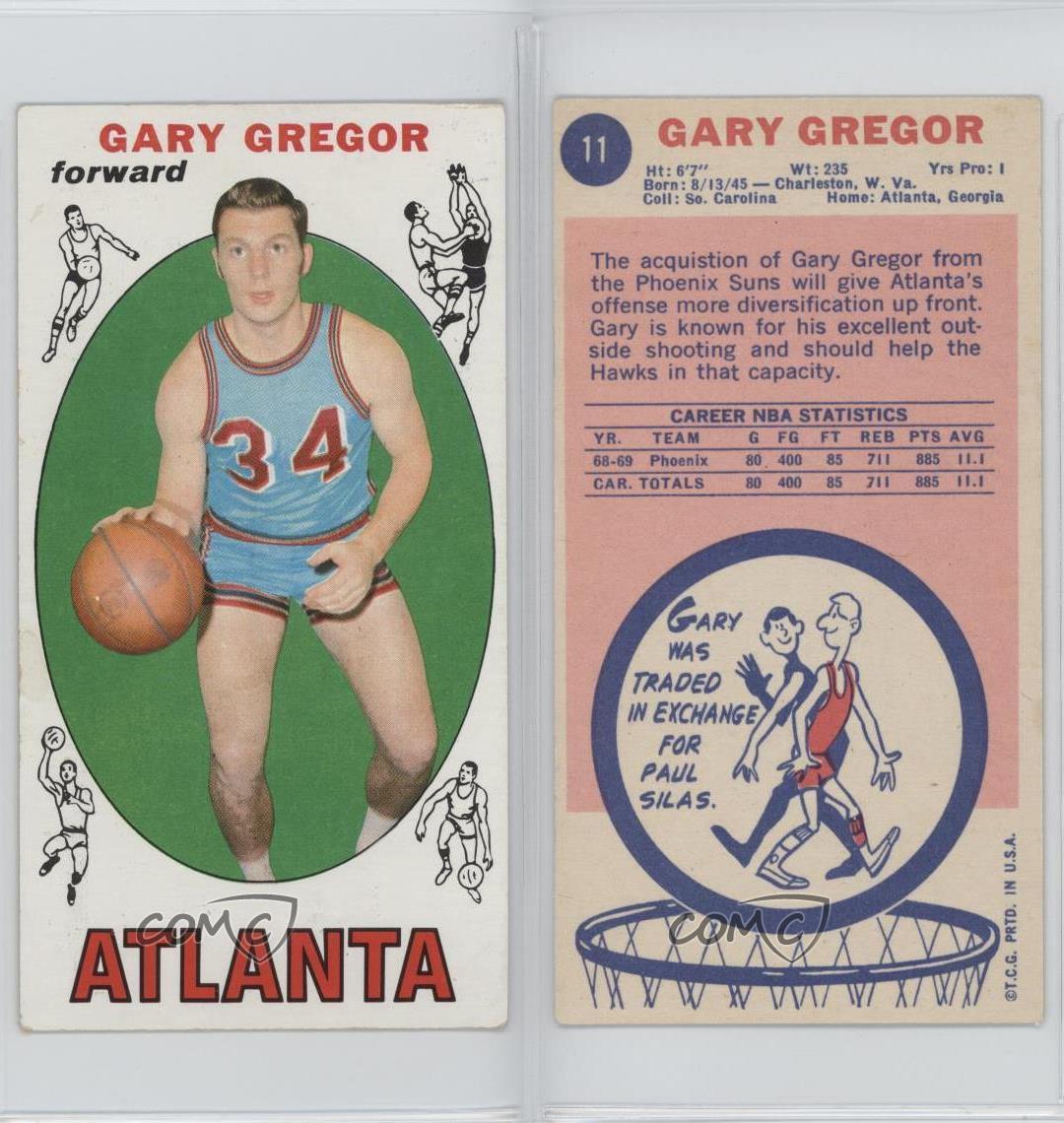 1969-70 Topps #11 Gary Gregor Atlanta Hawks RC Rookie