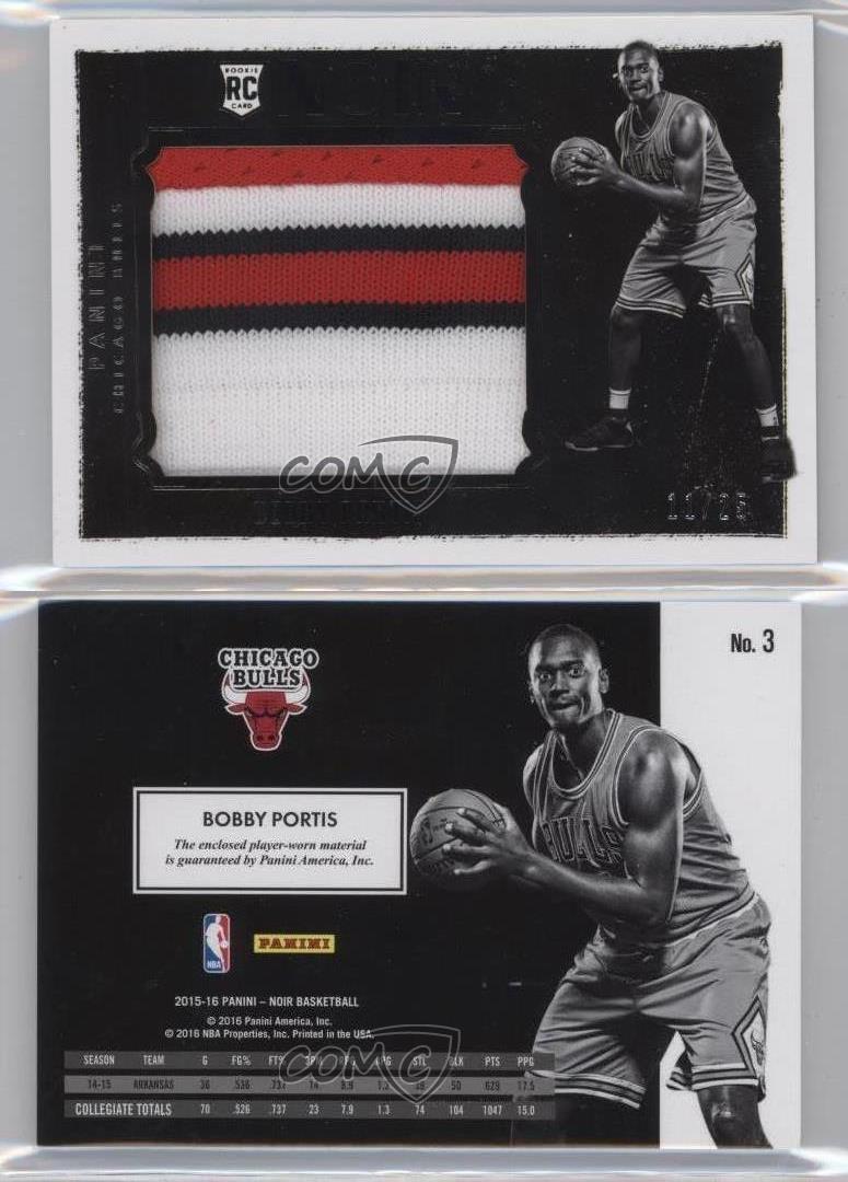 2015-16-Panini-Noir-Rookie-Prime-3-Bobby-Portis-Chicago-Bulls-Basketball-Card