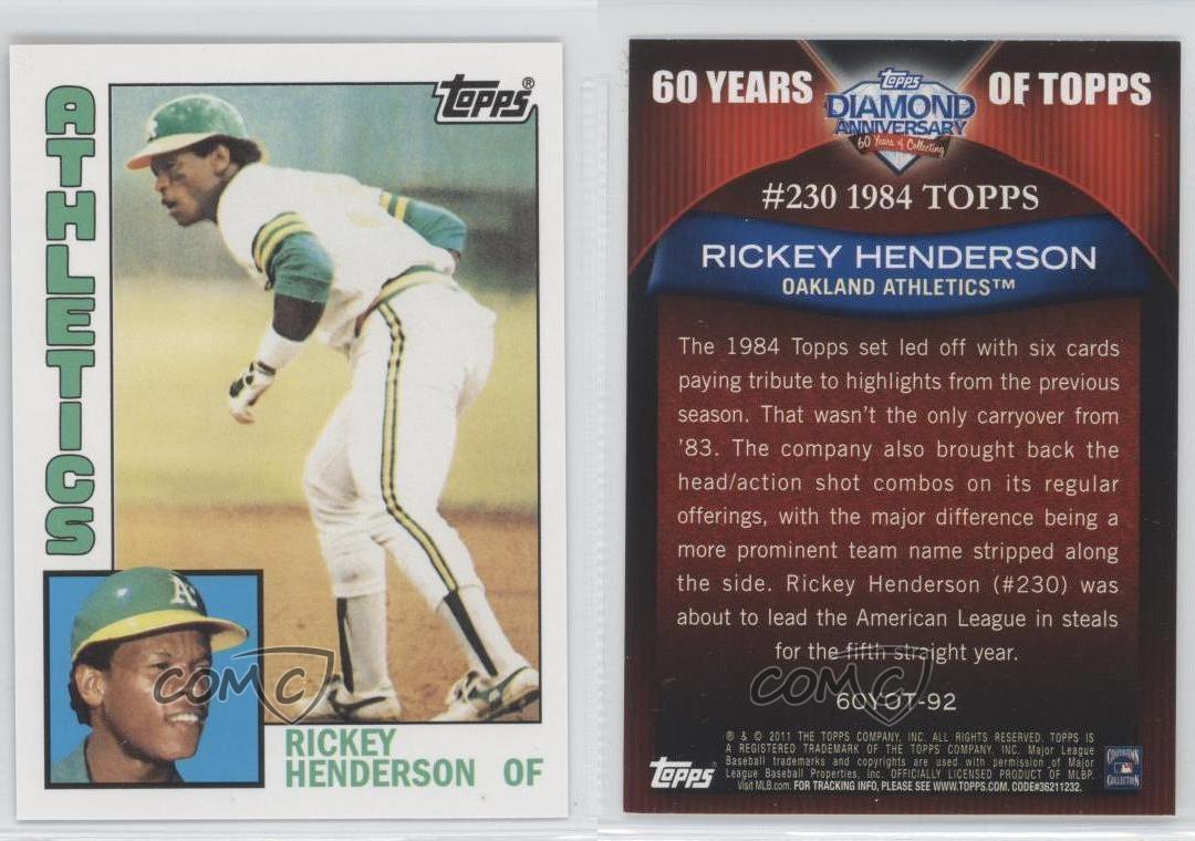 2011-Topps-60-Years-of-60YOT-92-Rickey-Henderson-Oakland-Athletics-Baseball-Card