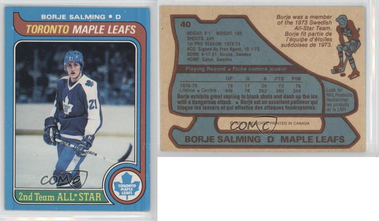 Details About 1979 80 O Pee Chee 40 Borje Salming Toronto Maple Leafs Hockey Card