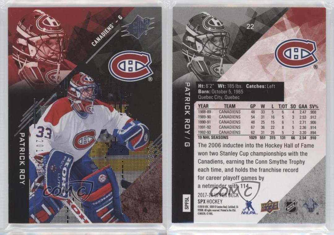 2017-18-SPx-22-Legends-Patrick-Roy-Montreal-Canadiens-Hockey-Card