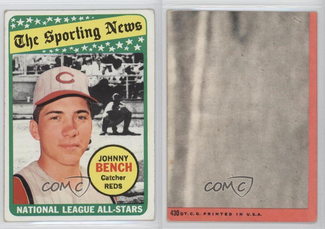 1969 Topps 430 Johnny Bench Cincinnati Reds Baseball Card Ebay