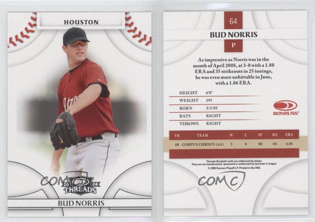 2008-Donruss-Threads-64-Bud-Norris-Houston-Astros-Rookie-Baseball-Card