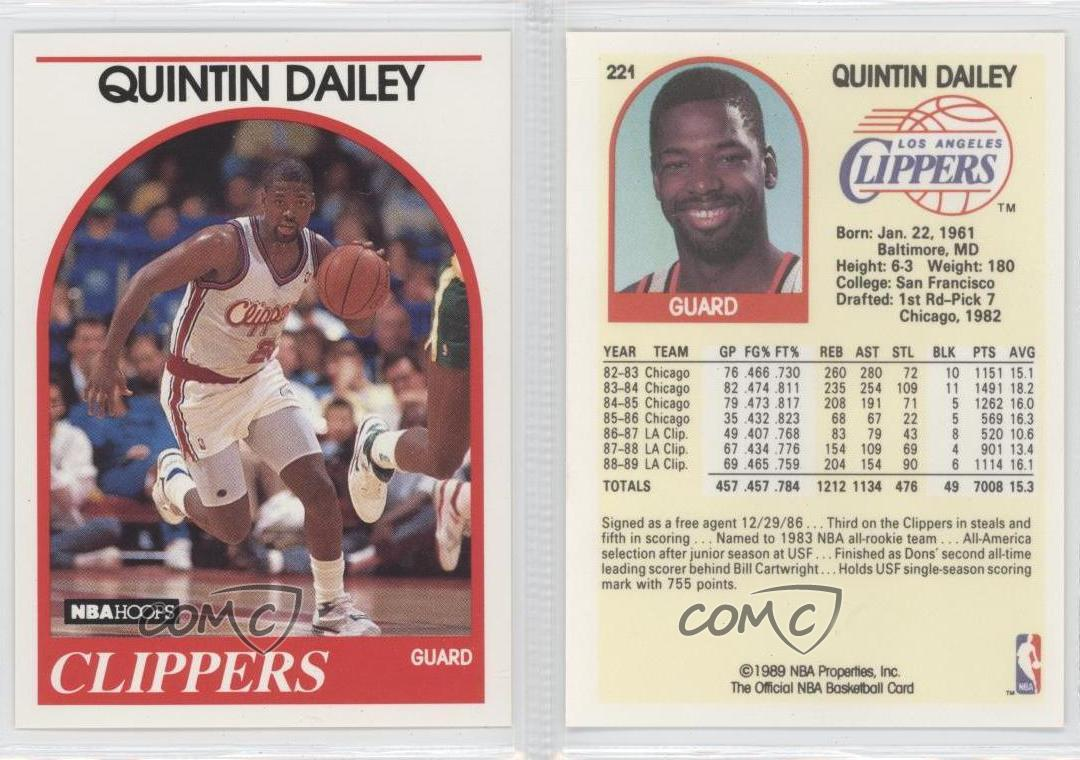1989 NBA Hoops 221 Quintin Dailey Los Angeles Clippers RC Rookie