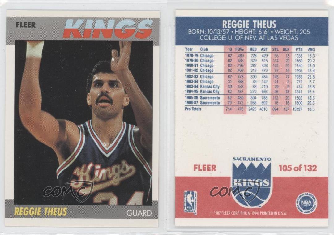 1987 88 Fleer 105 Reggie Theus Sacramento Kings Basketball Card