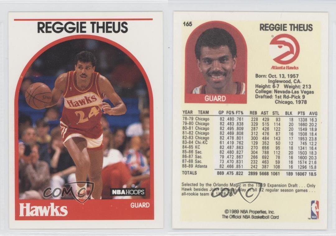 1989 90 NBA Hoops 165 Reggie Theus Atlanta Hawks Basketball Card
