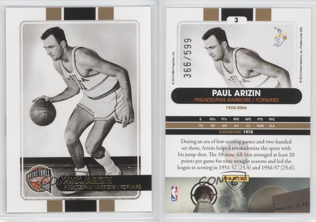 2009 10 Panini Basketball Hall of Fame 3 Paul Arizin Philadelphia
