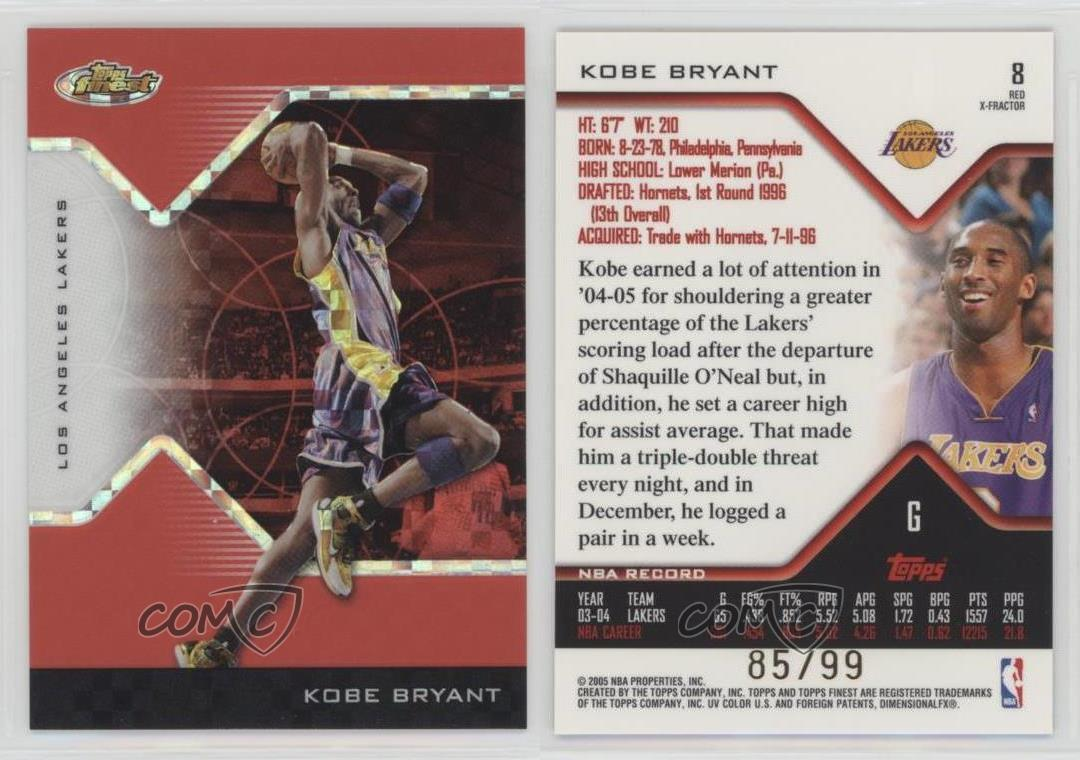 2004-Topps-Finest-Red-X-Fractor-8-Kobe-Bryant-Los-Angeles-Lakers-Basketball-Card
